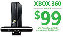 Xbox 360 As Low As $99, with Your Xbox LIVE Gold Membership At $14.99/month