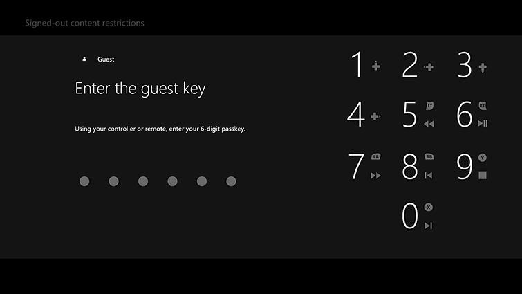 """Obrazovka """"Enter the guest key"""" se zobrazením číselné klávesnice."""
