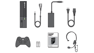 An illustration shows the items that come in the Xbox 360 E console package.