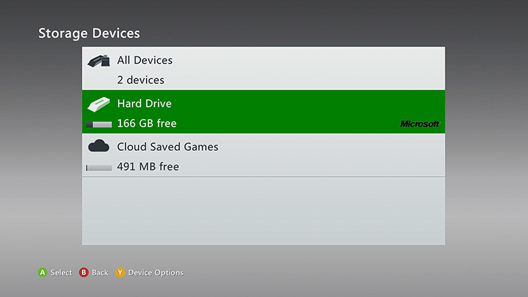'Hard Drive' is highlighted on the Storage Devices screen.