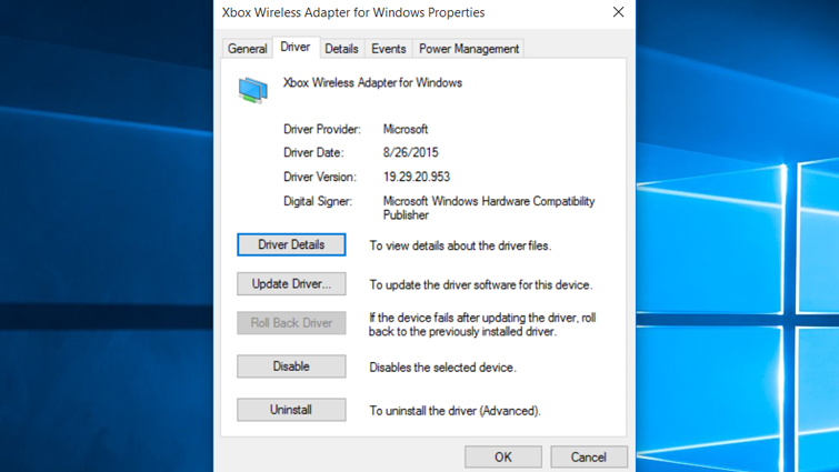 The Driver tab of the properties sheet in Windows for the Xbox Wireless Adapter for Windows, with the Driver Details option highlighted