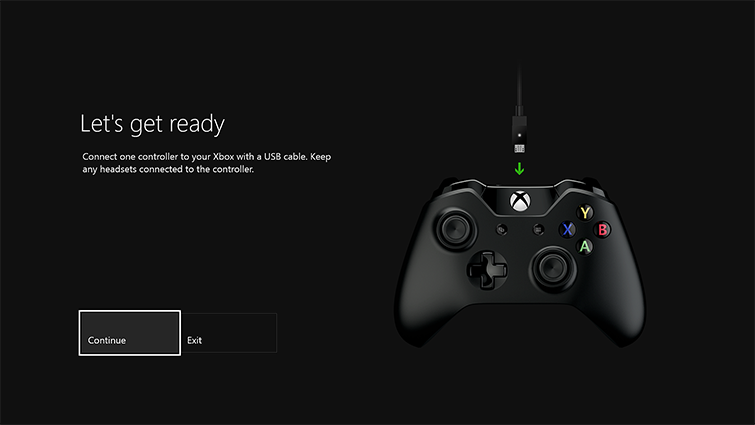 "A screen shows the words ""Let's get ready"" with an image of a USB cable connecting to the Xbox One Controller. There are buttons for ""Exit"" and ""Continue,"" which is highlighted."