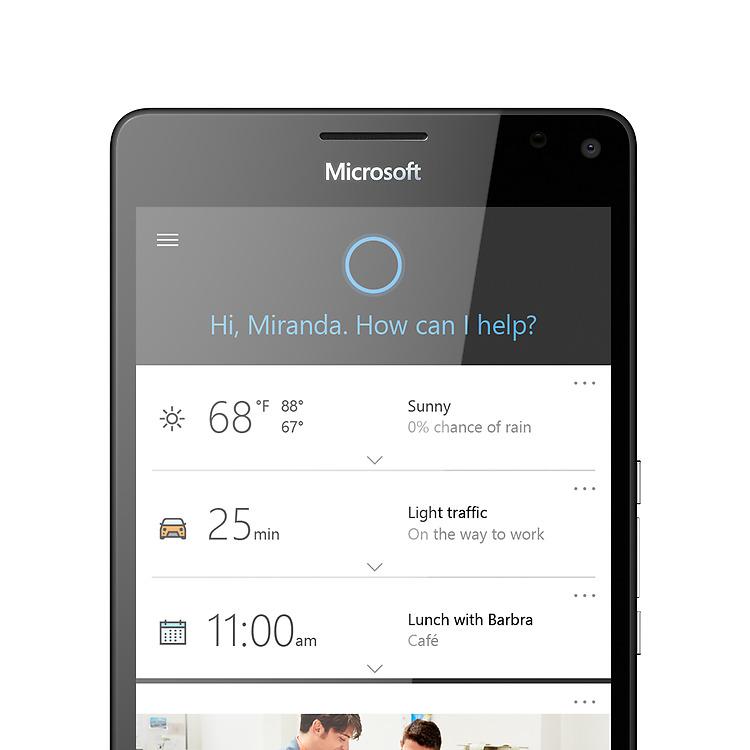 Lumia 950 with Cortana screen