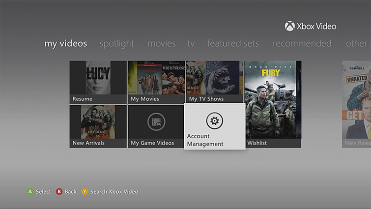 The Account Management option is highlighted on the 'my videos' screen.