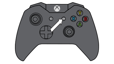 An arrow emphasizes the menu button on the Xbox One controller.