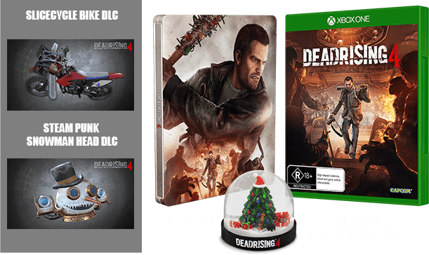 Two exclusive items of DLC, a steelbook and a collectible Frank West holiday snow globe.